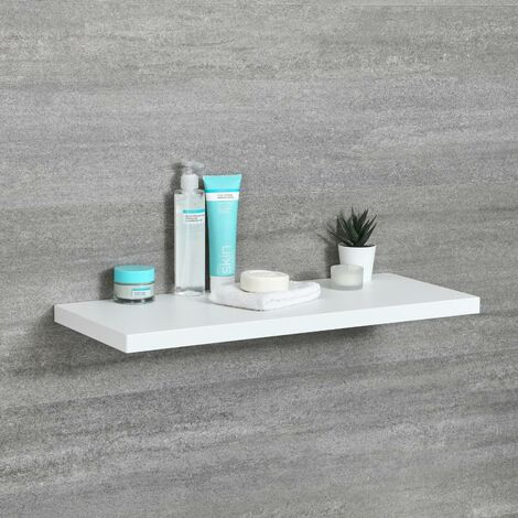 Milano Oxley - Modern White Wall Mounted Bathroom Floating Shelf - 600mm x 250mm