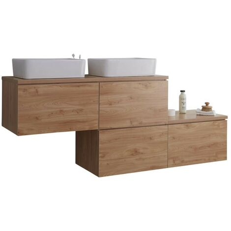 Milano Oxley - Oak 1797mm Wall Hung Stepped Bathroom Vanity Unit with 2 Countertop Basins & LED Option
