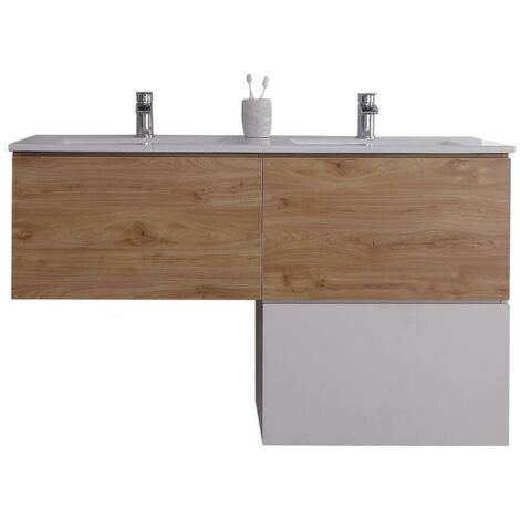 Milano Oxley - Oak and White L-Shaped 1210mm Wall Hung Bathroom Vanity Unit with Double Basin & LED Option