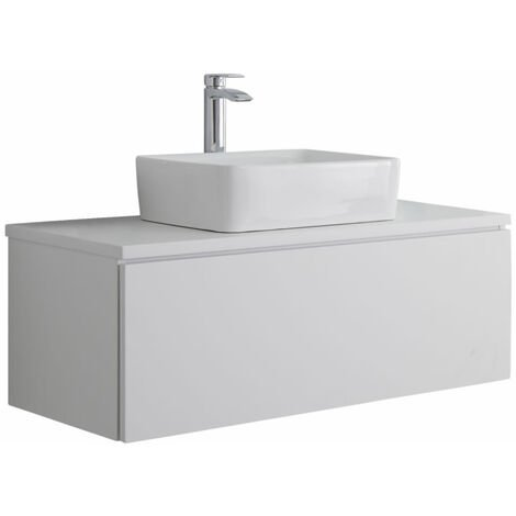 Milano Oxley - White 1000mm Wall Hung Bathroom Vanity Unit with Countertop Basin & LED Option