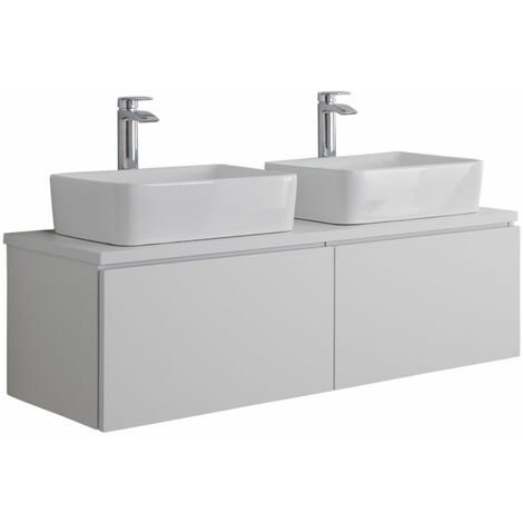 Milano Oxley - White 1200mm Wall Hung Bathroom Vanity Unit with 2 Countertop Basins & LED Option