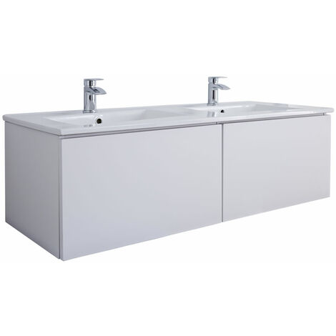 Milano Oxley - White 1210mm Wall Hung Bathroom Vanity Unit with Double Basins & LED Option