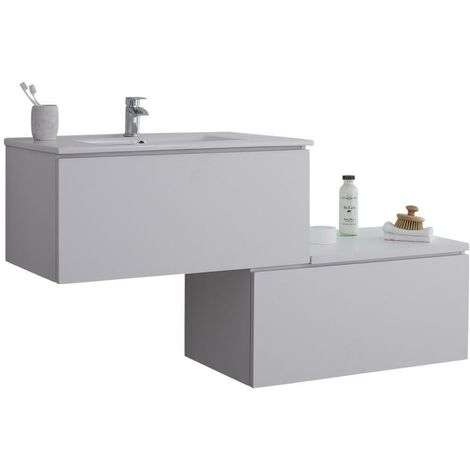 Milano Oxley - White 1397mm Wall Hung Stepped Bathroom Vanity Unit with Basin & LED Option