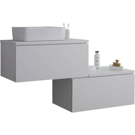Milano Oxley - White 1397mm Wall Hung Stepped Bathroom Vanity Unit with Countertop Basin & LED Option