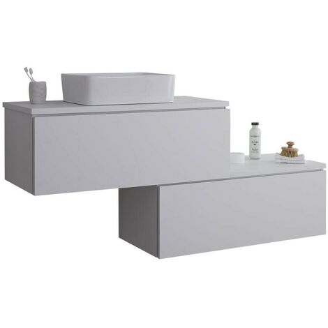 Milano Oxley - White 1597mm Wall Hung Stepped Bathroom Vanity Unit with Countertop Basin & LED Option