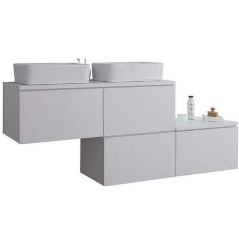 Milano Oxley - White 1797mm Wall Hung Stepped Bathroom Vanity Unit with 2 Countertop Basins & LED Option