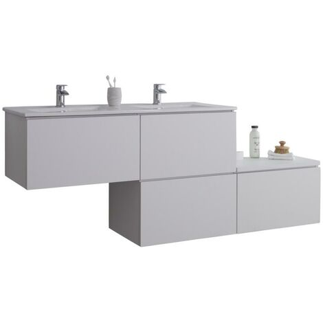 Milano Oxley - White 1797mm Wall Hung Stepped Bathroom Vanity Unit with Double Basin & LED Option