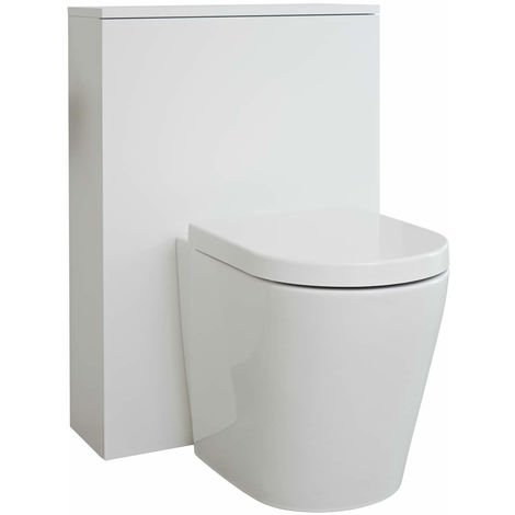 Milano Oxley - White 600mm Bathroom Toilet WC Unit with Back to Wall Pan, Seat and Cistern