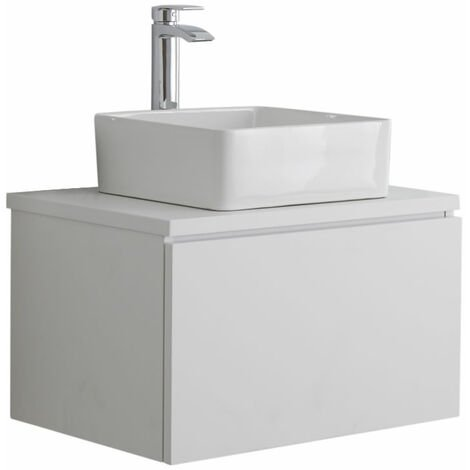 Milano Oxley - White 600mm Wall Hung Bathroom Vanity Unit with Square Countertop Basin & LED Option
