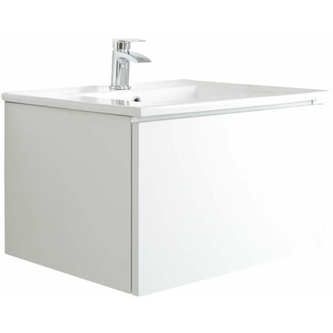Milano Oxley - White 610mm Wall Hung Bathroom Vanity Unit with Basin & LED Option