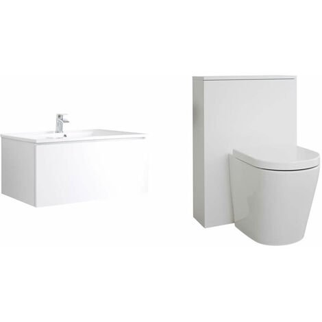 Milano Oxley - White 800mm Bathroom Vanity Unit with Basin  Toilet WC Unit and Back to Wall Pan & LED Option