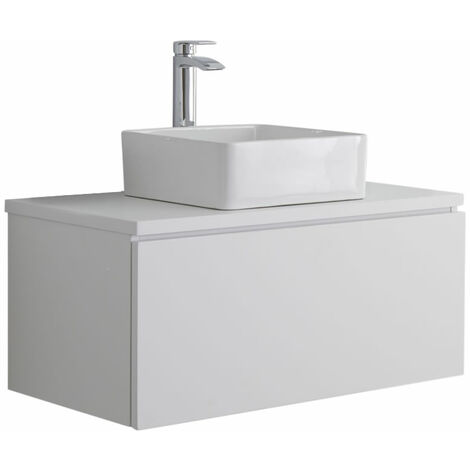 Milano Oxley - White 800mm Wall Hung Bathroom Vanity Unit with Countertop Basin & LED Option