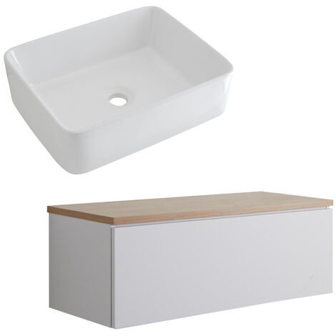 Milano Oxley - White and Golden Oak 1000mm Wall Hung Bathroom Vanity Unit with Countertop Basin & LED Option