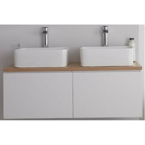 Milano Oxley - White and Golden Oak 1200mm Wall Hung Bathroom Vanity Unit with 2 Countertop Basins & LED Option