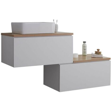 Milano Oxley - White and Golden Oak 1397mm Wall Hung Stepped Bathroom Vanity Unit with Countertop Basin & LED Option