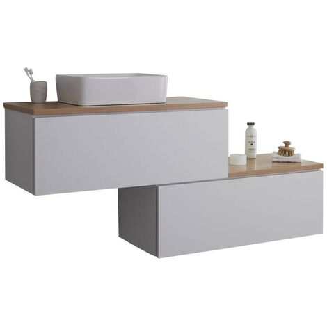 Milano Oxley - White and Golden Oak 1597mm Wall Hung Stepped Bathroom Vanity Unit with Countertop Basin & LED Option
