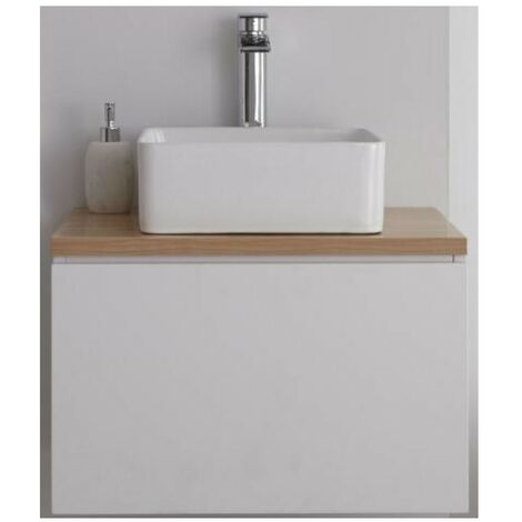Milano Oxley - White and Golden Oak 600mm Wall Hung Bathroom Vanity Unit with Countertop Basin & LED Option