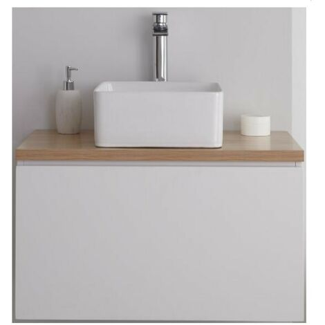 Milano Oxley - White and Golden Oak 800mm Wall Hung Bathroom Vanity Unit with Countertop Basin & LED Option