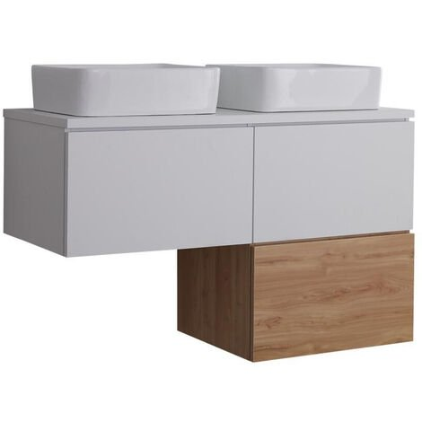 Milano Oxley - White and Golden Oak L-Shaped 1200mm Wall Hung Bathroom Vanity Unit with 2 Countertop Basins & LED Option