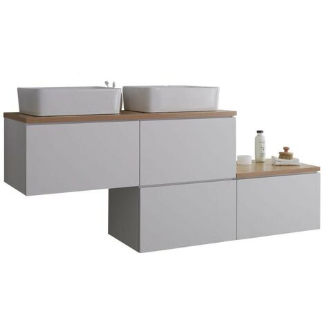 Milano Oxley - White and Oak 1797mm Wall Hung Stepped Bathroom Vanity Unit with 2 Countertop Basins & LED Option