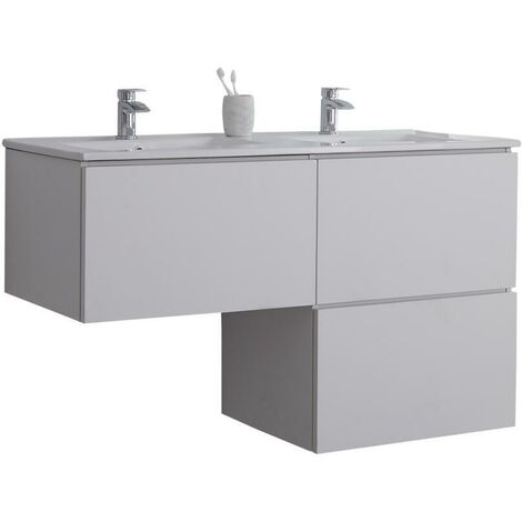 Milano Oxley - White L-Shaped 1210mm Wall Hung Bathroom Vanity Unit with Double Basin & LED Option