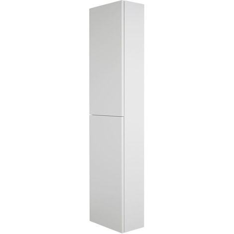 Milano Oxley - White Wall Hung Closed Tall Bathroom Storage Unit - 350mm x 1500mm