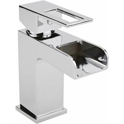 Milano Parade - Modern Bathroom Waterfall Mono Basin Mixer Tap - Chrome