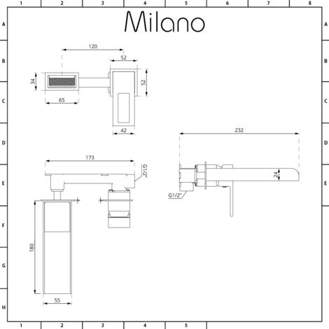 Milano Parade - Modern Wall Mounted Waterfall Basin Mixer Tap - Chrome