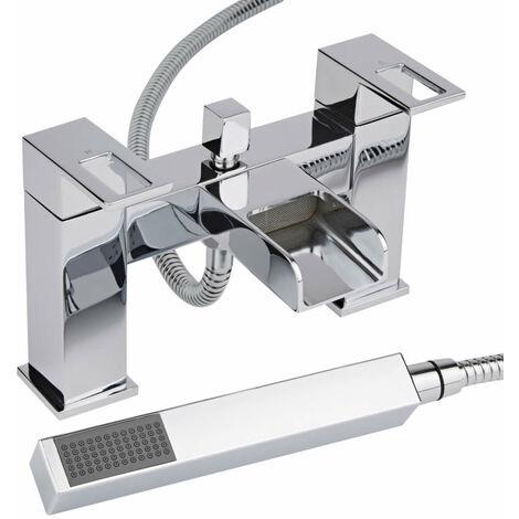 Milano Parade - Modern Waterfall Bath Shower Mixer Tap with Hand Shower Handset Kit – Chrome