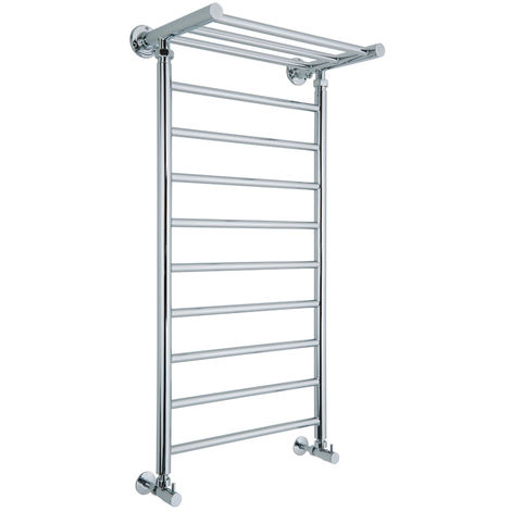 Milano Pendle - 994mm x 532mm Traditional Ladder Style Heated Towel Rail Radiator with Heated Shelf – Chrome
