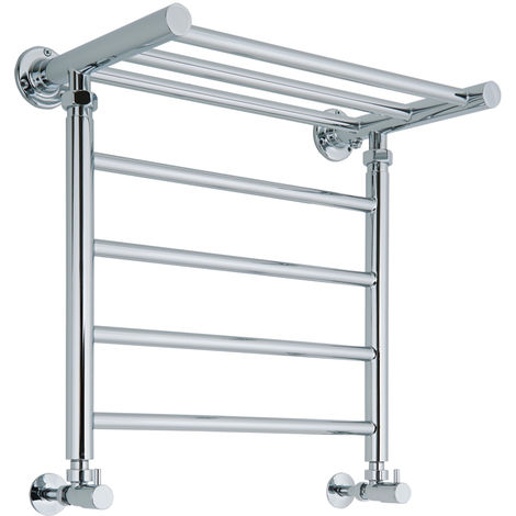 Milano Pendle - Chrome Heated Towel Rail with Heated Shelf - 494 x 532mm