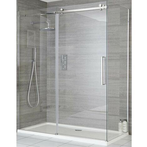 "main image of ""Milano Portland - 1000mm Reversible Wet Room Frameless Shower Enclosure Sliding Door with Side Panel - Chrome"""