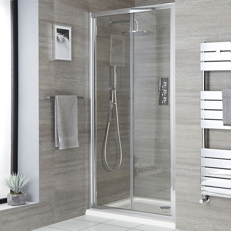 Milano Portland - 1000mm Reversible Wet Room Shower Enclosure Bifold Door with Side Panel - Chrome