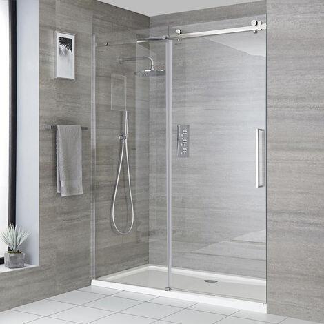 "main image of ""Milano Portland - 1400mm Reversible Wet Room Frameless Shower Enclosure Sliding Door with Side Panel - Chrome"""
