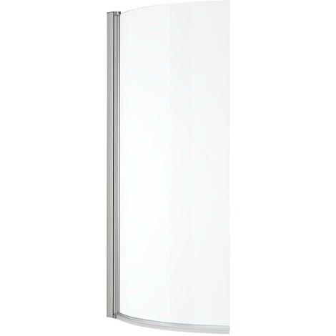 Milano Portland – 1400mm x 800mm Curved Glass Bathroom P Shape Bath Shower Screen - Chrome