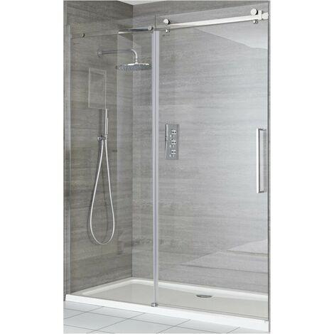 "main image of ""Milano Portland - 1500mm Reversible Wet Room Frameless Shower Enclosure Sliding Door with Side Panel - Chrome"""