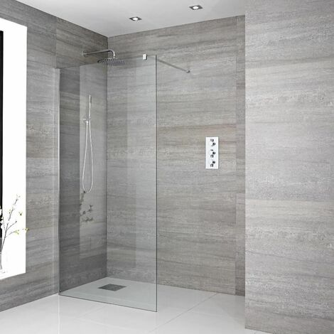Milano Portland - 800mm Recessed Walk In Wet Room Shower Enclosure with Screen Profile Support Arm and Shower Drain - Chrome
