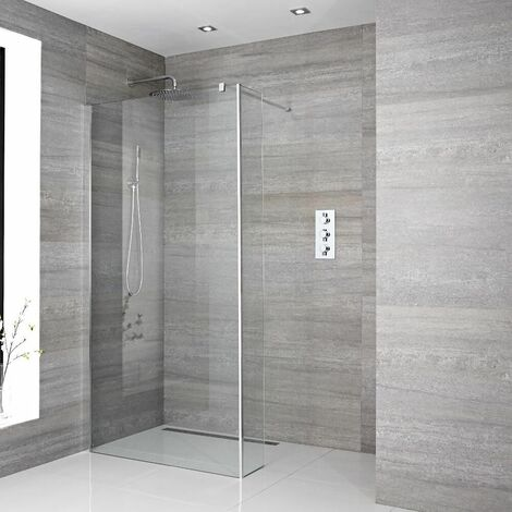 Milano Portland - 900mm Recessed Walk In Wet Room Shower Enclosure with Screen Return Panel Profile Support Arm and Shower Drain - Chrome