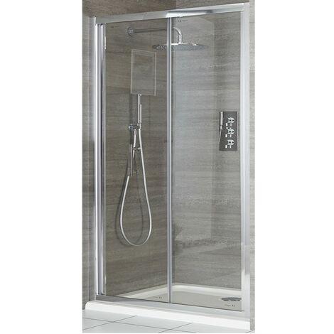 Milano Portland - 900mm Reversible Wet Room Shower Enclosure Bifold Door with Side Panel - Chrome