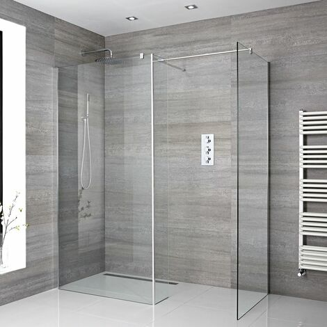 Milano Portland - Corner Walk In Wet Room Shower Enclosure with 1200mm & 900mm Screens Return Panel Support Arms and Shower Drain - Chrome