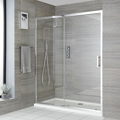Milano Portland - Reversible Recessed Walk In Wet Room Shower Enclosure with Sliding Door and 1000mm x 900mm White Tray with Fast Flow Waste - Chrome
