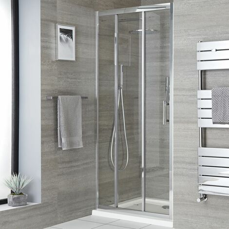 Milano Portland - Reversible Recessed Walk In Wet Room Shower Enclosure with Triple Sliding Door and 900mm x 1000mm White Tray with Fast Flow Waste - Chrome
