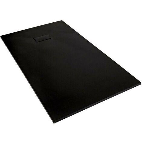 Milano Rasa - Graphite Slate Effect Rectangular Shower Tray & Kit - 1100mm x 700mm