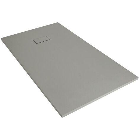 "main image of ""Milano Rasa - Light Grey Slate Effect Square Shower Tray & Kit - 800mm x 800mm"""