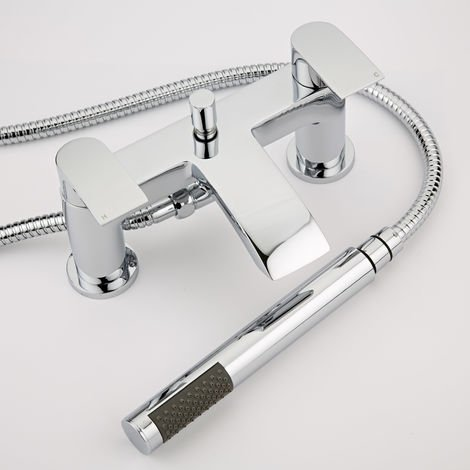 Milano Razor - Modern Bath Shower Mixer Tap with Hand Shower Handset Kit - Chrome