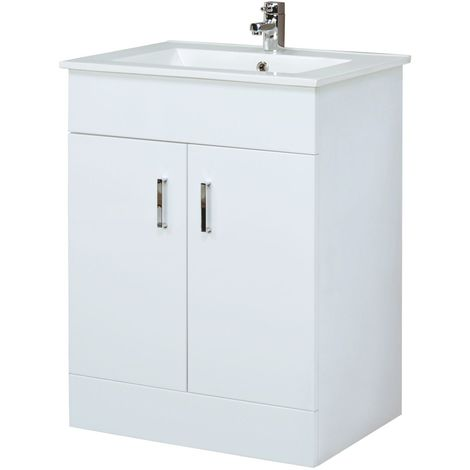Milano Ren 610mm Gloss White Bathroom Corner Floor Standing Furniture Vanity Unit with 1 Tap Hole Ceramic Basin Sink