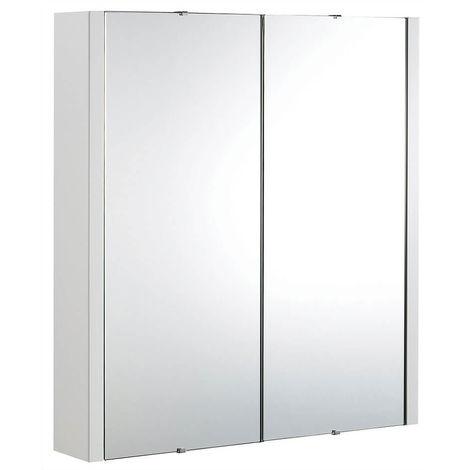 Milano Ren - Modern White Wall Mounted 2 Door Bathroom Mirrored Cabinet - 617mm x 650mm