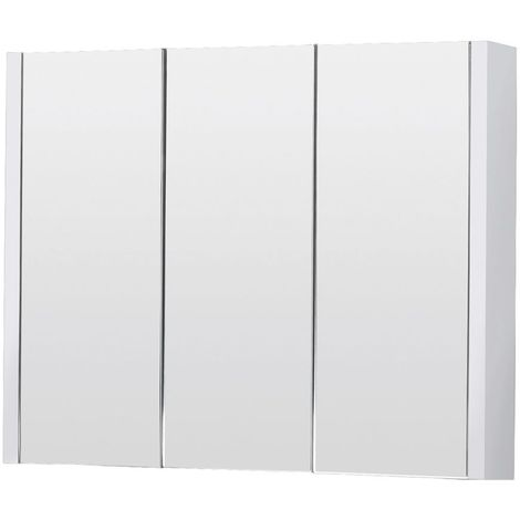 Milano Ren - Modern White Wall Mounted 3 Door Bathroom Mirrored Cabinet - 899mm x 650mm