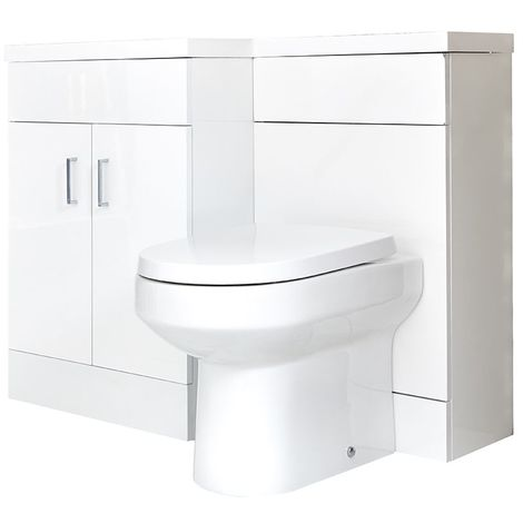 Milano Ren - White Modern Bathroom Left Hand Basin and Toilet WC Combination Unit - 1105mm x 770mm
