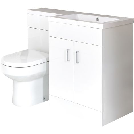 Milano Ren - White Modern Bathroom Right Hand Basin and Toilet WC Combination Unit - 1105mm x 770mm